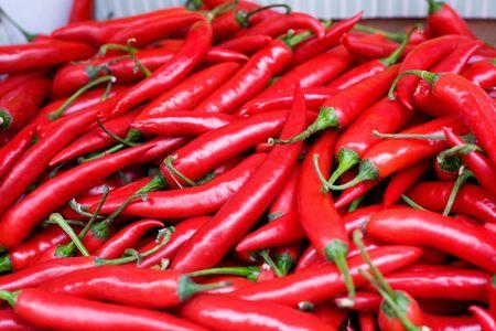 spicey: Un display di massa di peperoni rossi caldi