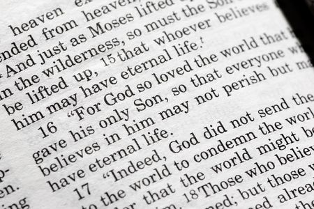 John 3:16 in the Christian Bible, For God so loved the world... Stock Photo