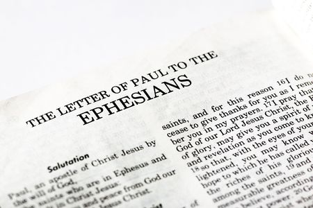 A macro detail of the book of Ephesians in the Christian New Testament photo