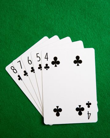 straight flush: A straight flush in the suit of clubs