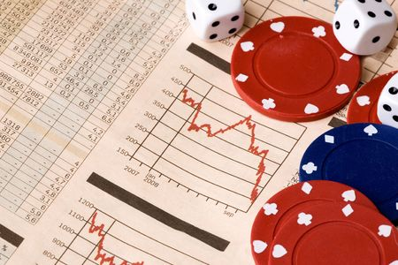 dice and casino chips on a stock market chart Stock Photo - 3856014