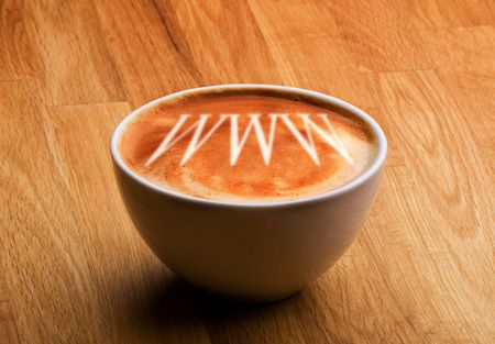 capucinno: A cappucino with www in the froth