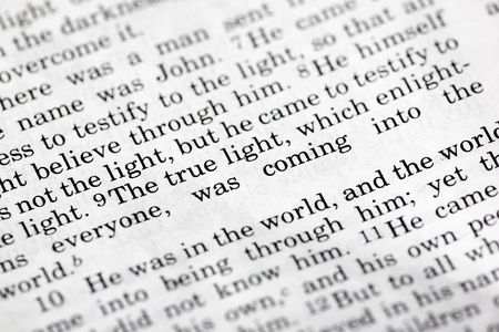 verse: John 1:9, a popular Bible verse from the New Testament Stock Photo