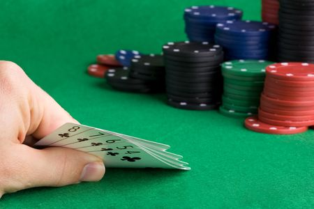 straight flush: A poker hand with a straight flush Stock Photo