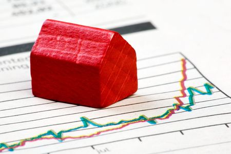 mortgage rates: A positive housing market concept and graph Stock Photo