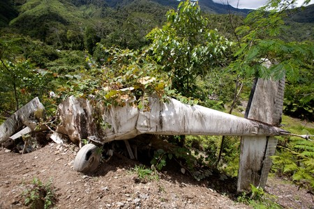 wreckage: A small airplane crashed on a mountain