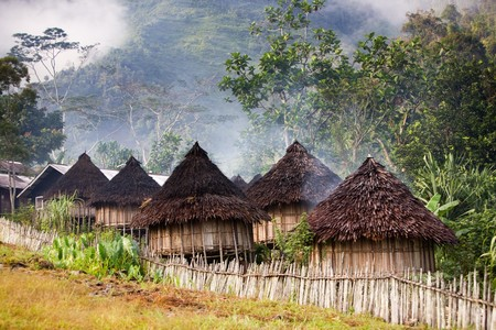 A traditional mountain village in Papua, Indonesia.