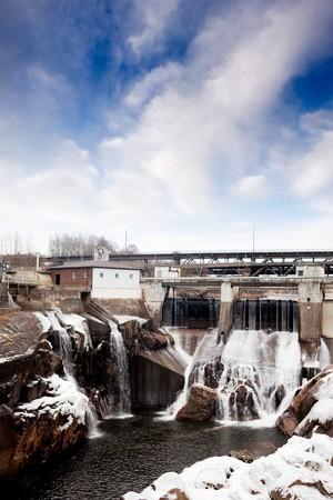 hydro electric: A hydro electric dam in the winter