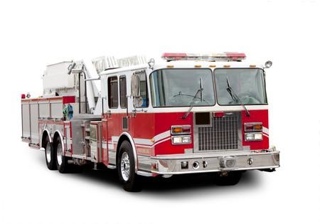 camion pompier: Un camion de pompiers rouge isolé sur blanc avec une ombre