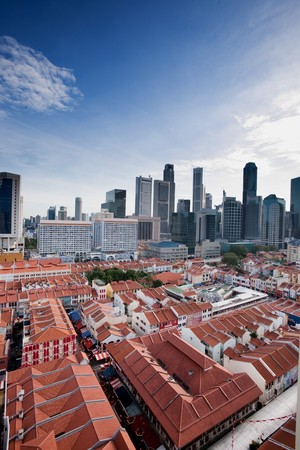 A view over Chinatown Singapore looking into the city center