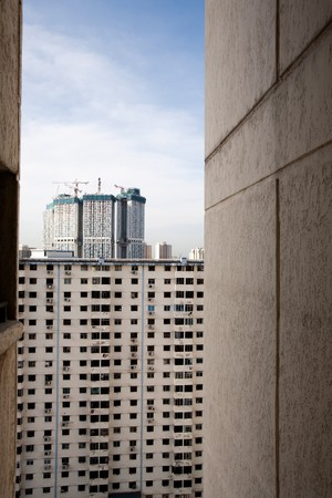 congested: Poor view from an apartment in Singapore Stock Photo