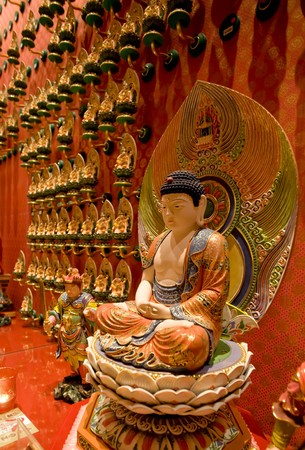 A statue of buddha in a buddhist temple