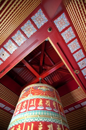 A very large buddhist prayer wheel Stok Fotoğraf