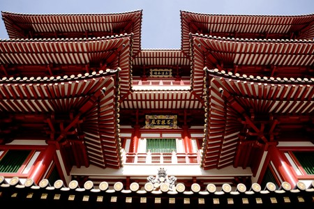 overhang: An archtiecture detail of a buddhist temple