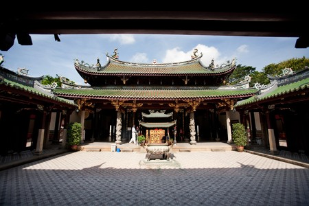 A buddhist temple courtyard, asian architecture