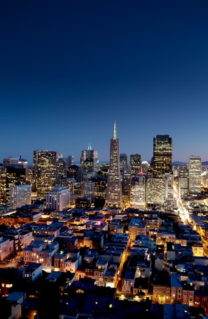 Night cityscape of San Francisco business district