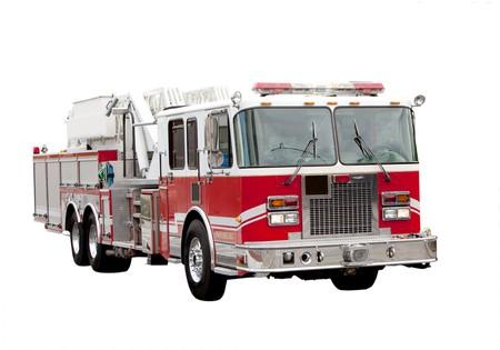 camion pompier: Un camion de pompiers rouge isolé sur blanc