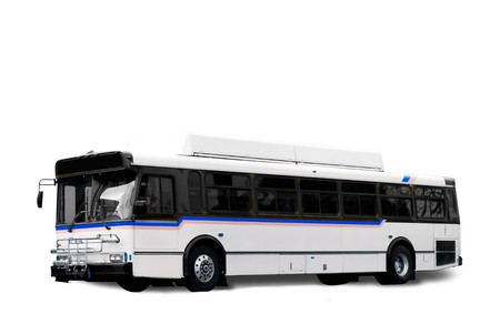 coach bus: A isolated white city bus