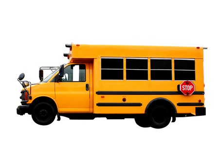 school bus: A yellow isolated school bus on white Stock Photo