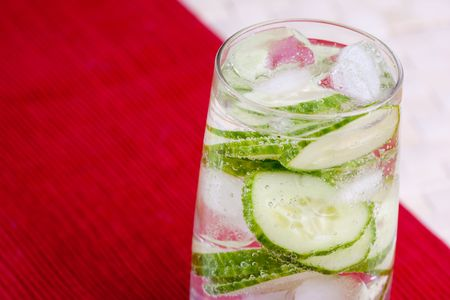 carbonated: A tasty cucumber carbonated water beverage Stock Photo