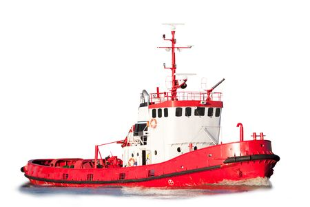 An isolated tug boat equipped with saftey equipment photo