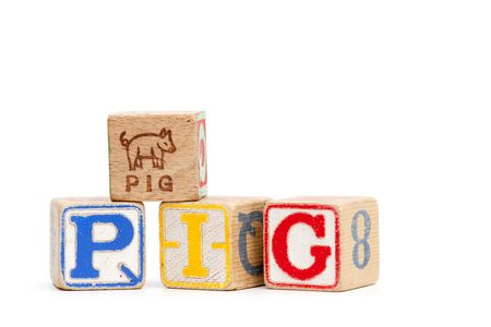 The word pig spelled with childrens blocks photo