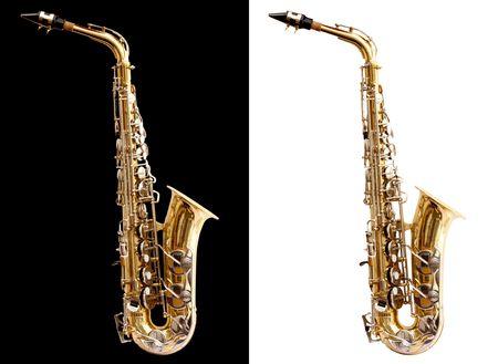 soprano saxophone: Saxofón Isolado y negro en el uso de color blanco para fácil Foto de archivo