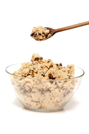 A bowl of raw chocolate chip cookie dough photo