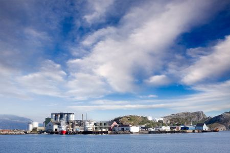 bod: Coast shipping industry buildings in northern Norway Stock Photo