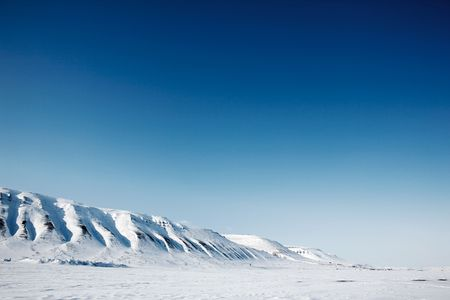 arctic landscape: A winter mountain landscape of the island of Spitsbergen, Svalbard, Norway