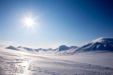 svalbard: A winter landscape on Spitsbergen Island, Svalbard, Norway