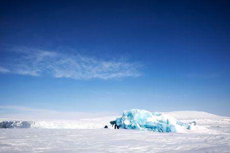 Frozen ocean and glacier ice on the coast of Spitsbergen Island, Svalbard, Norway photo
