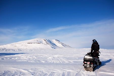 An adventure guide on the island of Spitsbergen, Svalbard, Norway photo
