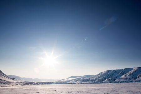 A beautiful barren winter landscape in the mountains photo