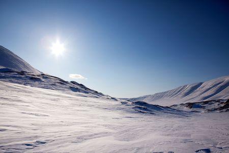 sund: A beautiful barren winter landscape in the mountains