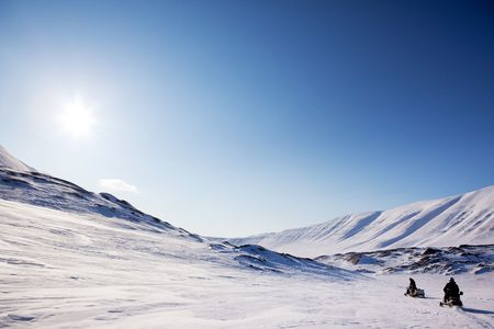 A winter mountain landscape - Svalbard Norway photo