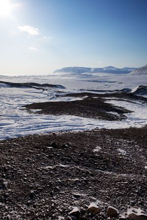 sund: A cold and barren winter landscape in Svalbard, Norway