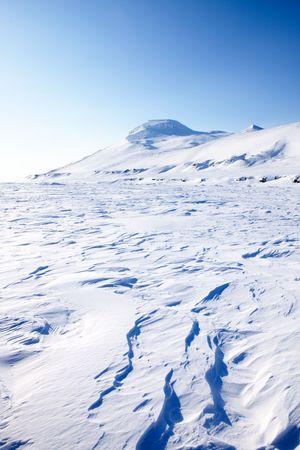 sund: A frozen coastal landscape from Spitsbergen, Svalbard, Norway