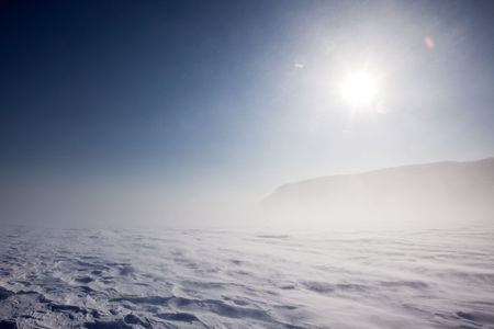 Blowing snow across a desolate winter landscape Stock Photo - 5702275