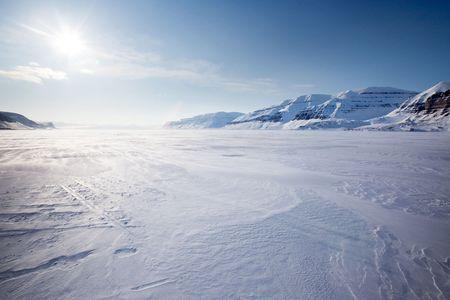 svalbard: A panorama landscape on Spitsbergen Island, Svalbard, Norway