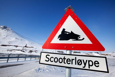 svalbard: A sign for a snowmobile trail in Longyearbyen, Spitsbergen, Svalbard, Norway Stock Photo