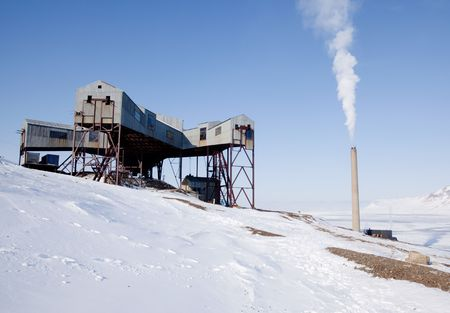 spitsbergen: An old mine conveyor belt central, Svalbard, Norway Stock Photo