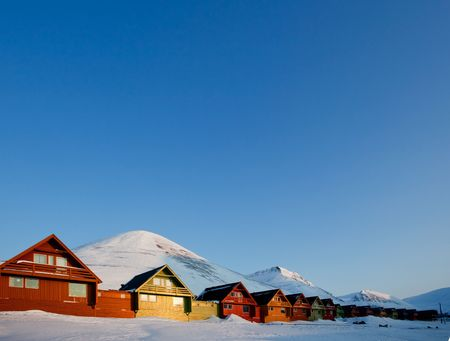 Sunset on Longyearbyen, Norway, the northern most settlement in the world. photo
