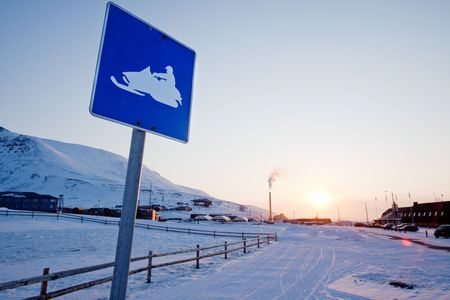 svalbard: A snowmobile sign in Longyearbyen, Svalbard, Norway