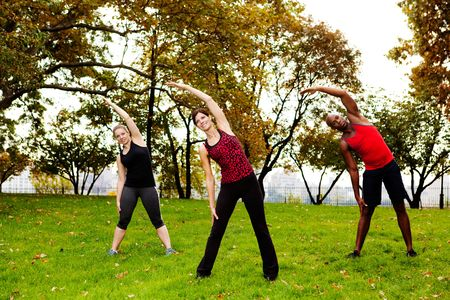 A group of people stretching in a park photo