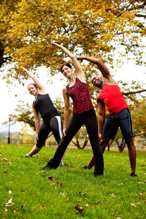 A group of people exercising in a park Stock Photo - 5802498