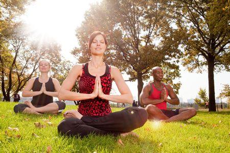 Un grupo de personas de meditaci�n en el parque - tener en el sol con Lens Flare Foto de archivo - 5857691