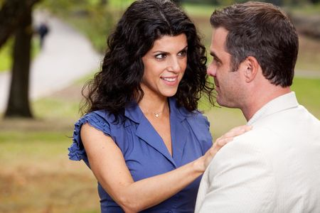 A woman looking at her husband with suspense Stock Photo - 5897916