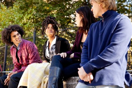 A group of college or university students visiting and having fun Stock Photo - 5971806