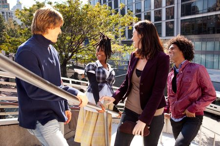 A candid of a group of friends in the city Stock Photo - 5971867